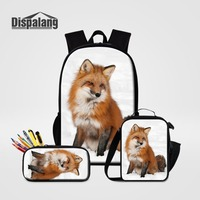 3 PCS Set School Back Pack Lunchbox Pencil Case For Students Children Custom Animal Fox Schoolbags Primary Bagpack Kids Rucksack