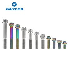 Wanyifa M8x15 20 25 30 35 40 45 50 55 60 65mm Small Flange Head Titanium Bolt Screw for Bicycle Brake Rainbow Color