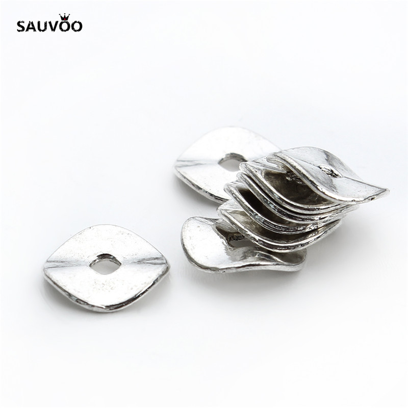 Sauvoo 100pcs Antique Silver Color Round Flat Metal Rondelle Wave Spacer Beads 10mm For DIY  Women Jewelry Making Findings F411