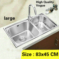 Free shipping Apartment luxury wash vegetables high volume large kitchen double groove sink 304 stainless steel vogue 83x45 CM
