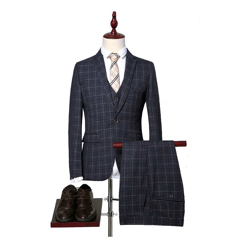 (Jacket+Pant+Vest) Men Business Suits Classic One Button Slim Fit Single Button 2018 New Brand Male Plaid Suit Black Gray-in Suits from Men's Clothing    1