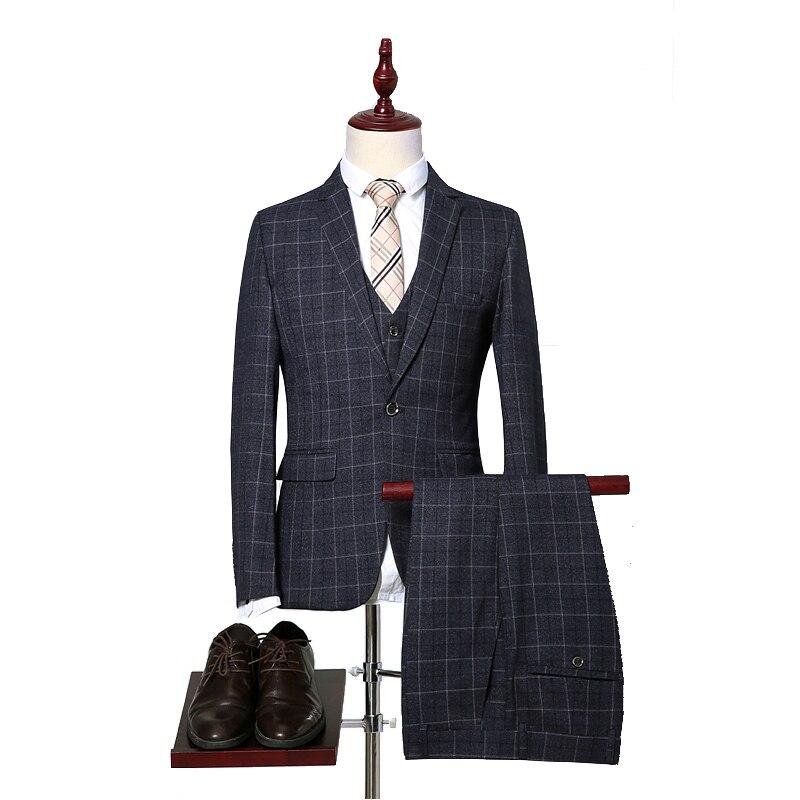 (Jas + Broek + Vest) mannen Pakken Klassieke Een Knop Slim Fit Single Button 2018 Nieuwe Merk Mannelijke Plaid Pak Zwart Grijs-in Pakken van Mannenkleding op  Groep 1