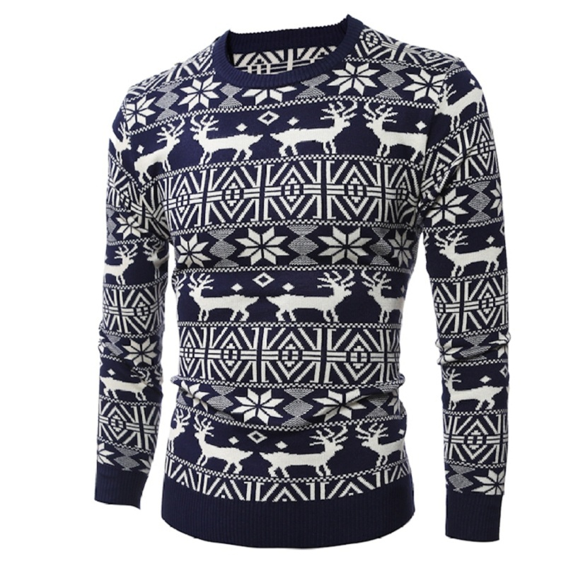 Loldeal Men's O Neck Deer Printed Sweater Fashion Christmas Snowflake Sweater Pullover