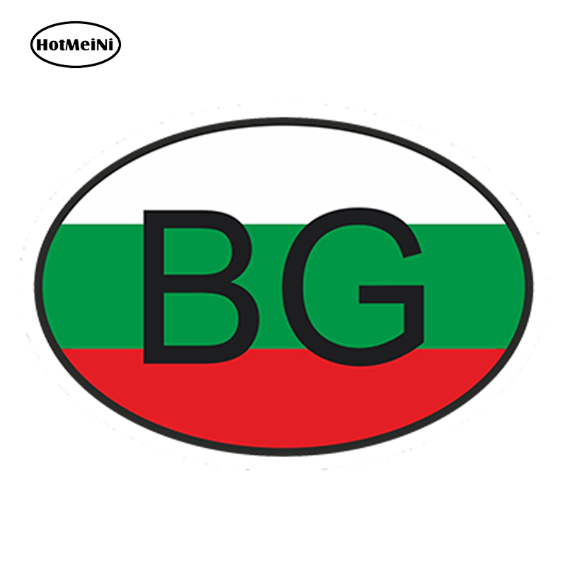 HotMeiNi 13x9.1cm Car Styling Bg Bulgaria Country Code Oval With Flag Car Sticker Windows Helmet Waterproof Bumper Accessories