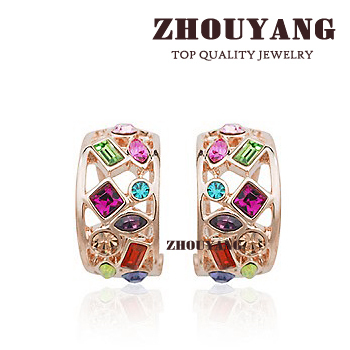 Top Quality Multicolour Csystals Rose Gold Color Fashion Jewelry