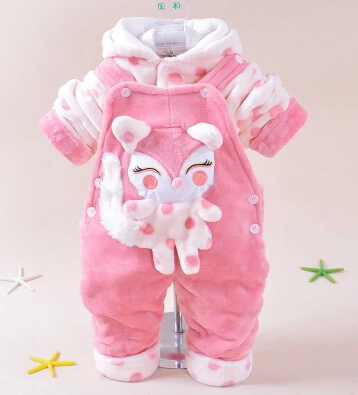 new 2014 baby girl baby boy cartoon warm clothing sets hoodie+overalls kids clothes sets 2pcs baby suit