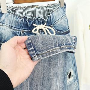 Image 5 - Pantalones Vaqueros rasgados para Mujer, Vaqueros Boyfriend de estilo Vintage holgados de cintura alta, Vaqueros de talla grande 5XL, Pantalones Q58 para Mujer
