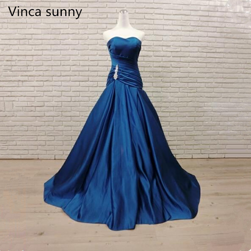 Mermaid Blue Satin Long Evening Dresses abendkleider 2019 Sweetheart Beads Crystal robe de soiree longue