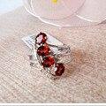100% натуральный красный гранат кольцо стерлингового серебра 925 круглый камень кольцо 4 природных полудрагоценных драгоценных камней кольцо женщины партия ювелирных изделий