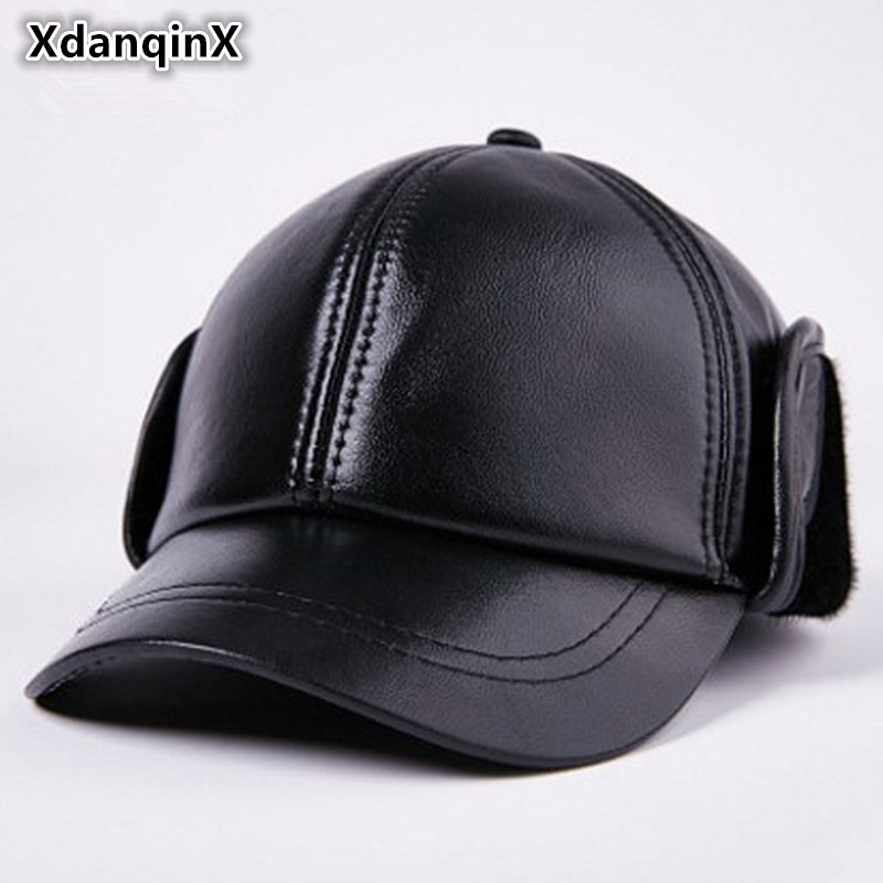 Leather Hat Winter Men's Warm Leather Sheepskin Baseball Cap With Ears Sombrero De Hombre Solid Thickened Middle-aged Dad's Hats leather wool hat middle aged men s winter warm thick sheepskin flat baseball cap winter snapback bone ear protection cap