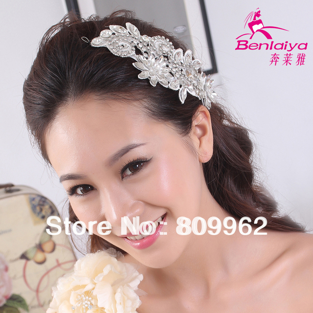 2pcs/lot Flower Hairwear Lace Material Crystal Bridal Jewelry Vintage Wedding Accessories Handmade Headbands HO111821