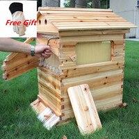Автоматический улей дом с 7 шт. потока гребень мёд деревянный рамки для Улей пластиковый для пчеловодства сбора трубы Комплект инструменты