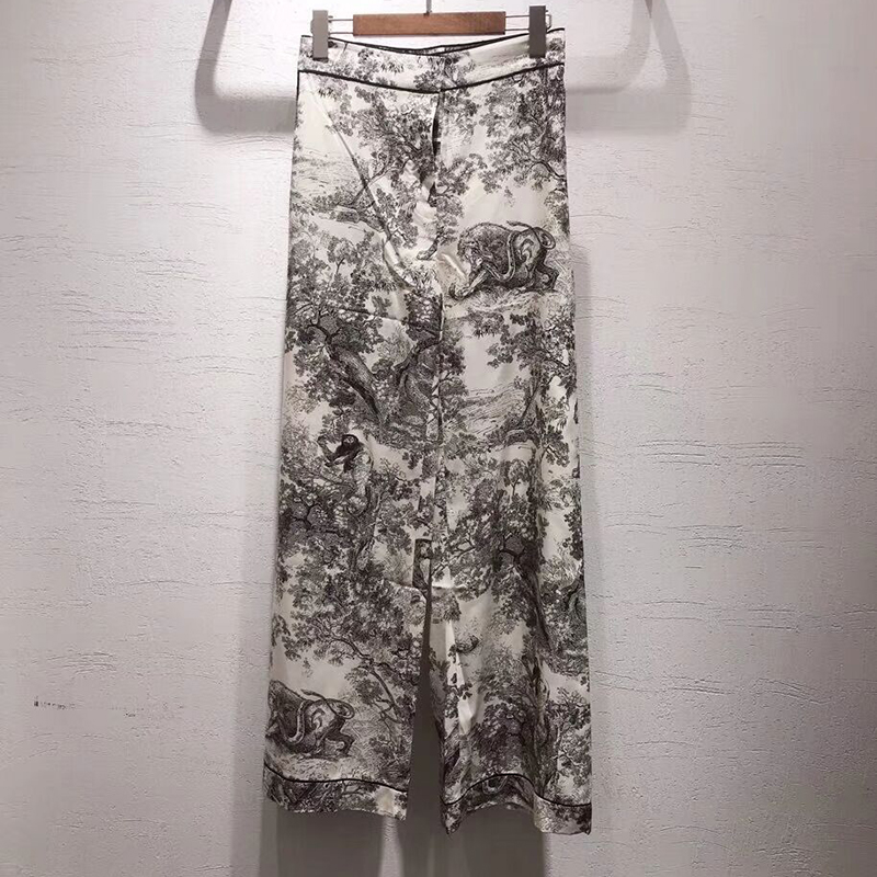 2019 spring summer High Quality ladies trousers casual silk Forest printing Comfort women's Trousers Straight   wide     leg     pants
