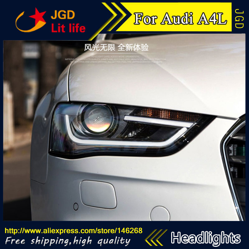 Free shipping ! Car styling LED HID Rio LED headlights Head Lamp case for Audi A4L 2013-2016 Bi-Xenon Lens low beam