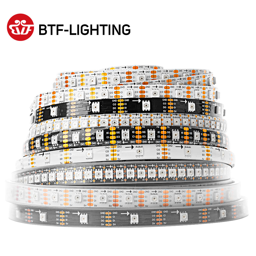SK9822 (Liknande APA102) Smart RGB Led Pixel Strip 1m / 5m 30/60/144 Leds / pixlar / m DATA och CLOCK Separat IP30 / IP65 / IP67 DC5V