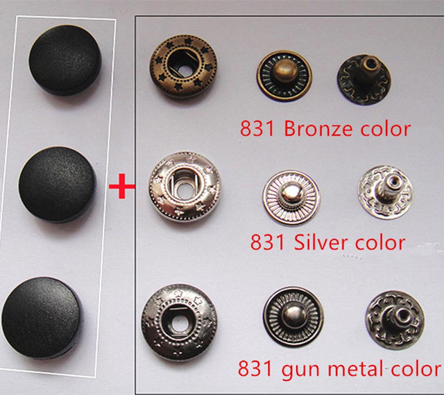 US $15 99 |15 mm Plastic Black Cap Poppers Snap Fasteners Button Press  Studs Sewing Clothing Craft Buttons 831 metal Parts 201 Snap button -in  Buttons