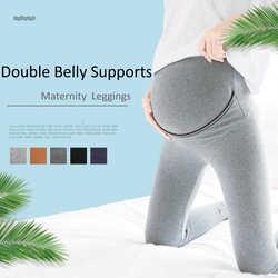 2018 Хлопок Леггинсы для беременных двойной живота поддерживает ropa mujerAdjustable окружность живота Беременность одежда для Для женщин