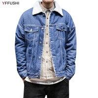 YFFUSHI 2018 New Denim Jacket Men Autumn Winter Fleece Jackets Warm Casual Style Fashion Design Plus