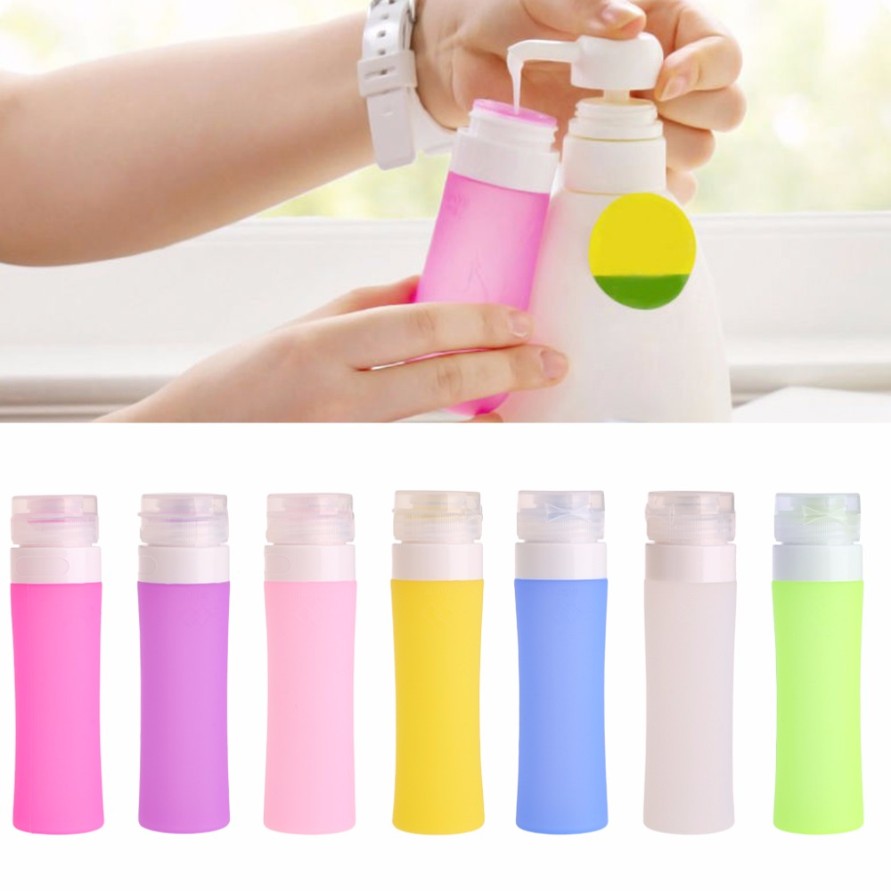 Hot! Portable Refillable Silicone Bottle Traveler Lotion Shampoo Bath Containers 80ML/60ML/38ML