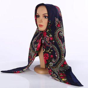 Image 3 - Kopftuch Fabrik Outlet Muslimischen Schal Islamique Ethnische Stil Platz Hijabs Kopftuch Arabische Drucken Kopftuch Platz Handtuch