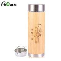 Креативный бамбуковый термос кружка из нержавеющей стали Изолированная вакуумная фляжка бутылки кофе кружка для путешествий чай 360 мл/450 мл