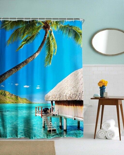 3d casa al mare tende da doccia bagno impermeabile tessuto - Tende per casa al mare ...