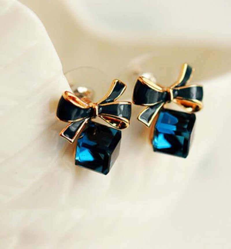 2019 New jewelry fashion Gold Bowknot Cube Crystal Earring Gold Square bow Earrings for WomenPretty gift