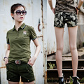 Womens Summer Spring Cotton Army Green Shorts Casual Straight Mid Waist Short Pants Ladies Plus Size Camouflage Cargo Shorts XXL