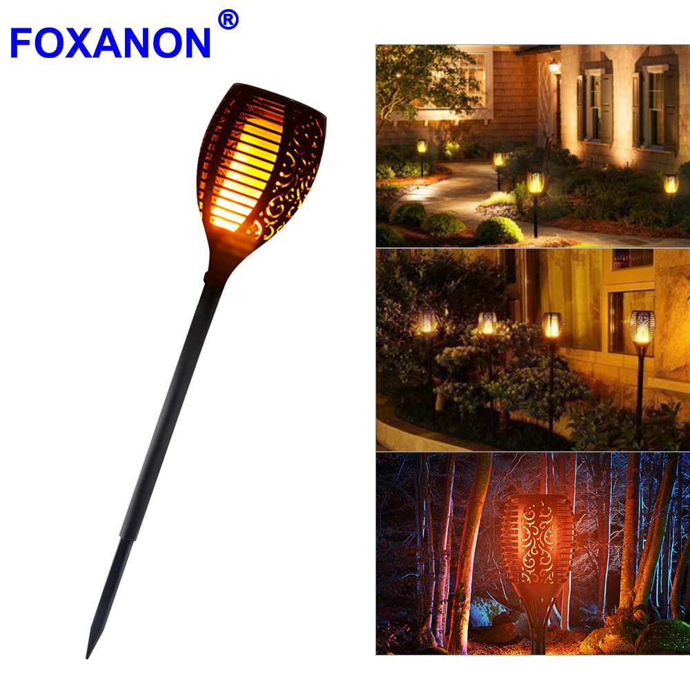 New Solar Flame Led Fire Effect Lawn Lamps Torch Light Realistic Flicker Waterproof Outdoor Holiday Garden Decor