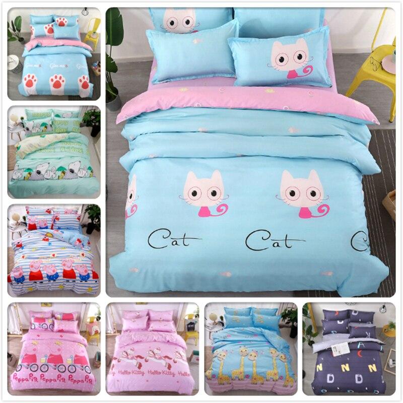 Cat Kitty Dog Bedding Set 3/4 pcs Bedclothes Single Twin Queen Size Duvet Cover Quilt Comforter Case Kids Cotton Bed Linens 1.5m