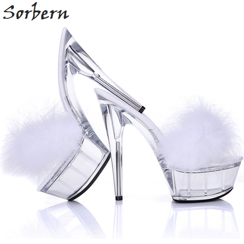 Sorbern White Ostrich Feather Clear Heels 15Cm Slippers Women Summer Shoes Ladies Sandal Transparent High Heel Platform Open Toe stylesowner rabbit fur plush high heel slippers transparent clear slippers clip toe thin high heels shoes ladies shoes for women