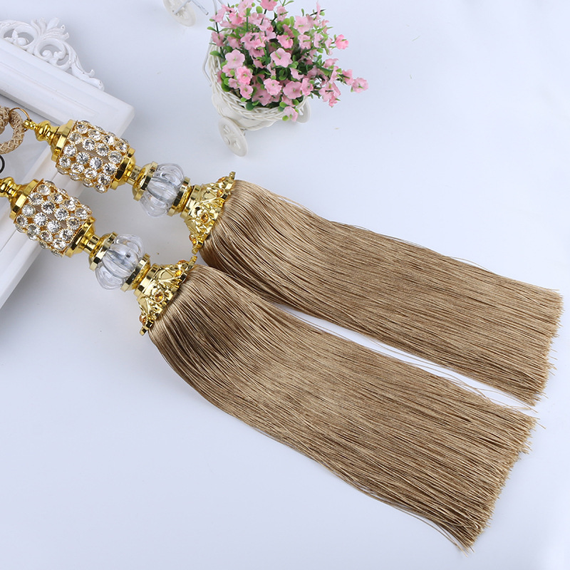 2Pcs/Pair Crystal Beads Balls Curtain Hanging Belt Curtains Tassels Curtain Tiebacks Bandages Brushes Curtain Accessories