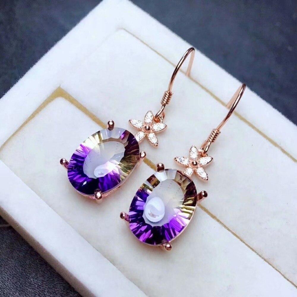 shilovem 925 sterling silver piezoelectric ametrine Drop earrings fine Jewelry women trendy party classic wedding me101482agzj