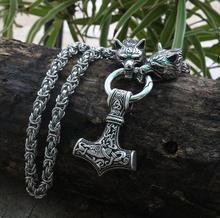 Men stainless steel necklace viking wolf head