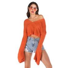 купить Autumn Sweater Women Solid Color Flare Sleeve V-neck Loose Long Sleeve Top Pullover  Fashion Casual Street Orange Sweater Femme по цене 948.71 рублей