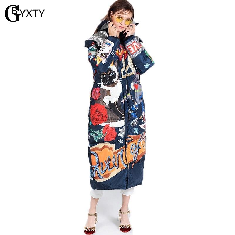 1b5485fa7e GBYXTY Women Winter Long Thick Duck Down Jacket Coat Femme Cartoon Cat  Print Harajuku Feather Puffer Jacket Down Parka ZA1086