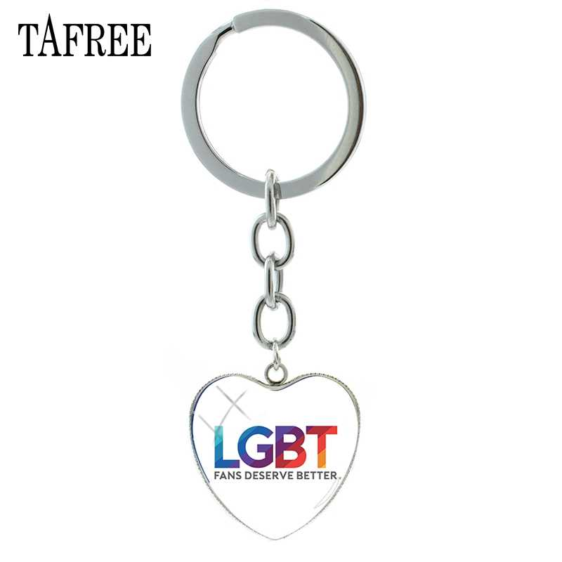 TAFREE Íris LGBT Sinal Chaveiro Pingente de Coração de Prata Banhado A Cúpula De Vidro Anel Chave Da Cadeia de Sacos de Mulheres Decoração Jóias BT05