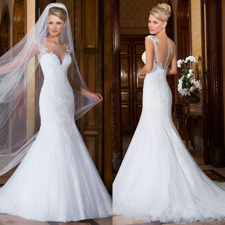 Wedding Dress Illusion Back: Cap Sleeve Wedding Dress Mermaid Lace White Wedding Gowns