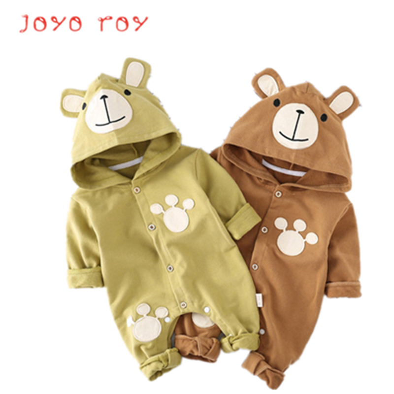Joyo roy 2018 New Newborn Baby Boy Girl Bear Pattern Full Sleeve Hooded Rompers Spring Autumn Infant Jumpsuit djxx10R in Bodysuits from Mother Kids