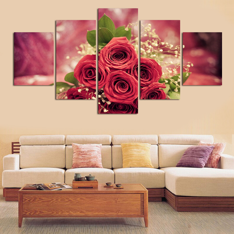 Us 14 6 2017 rose wall painting 5pcs wall art abstract red rose flower modern hd picture home decor canvas print painting picture canvas in painting