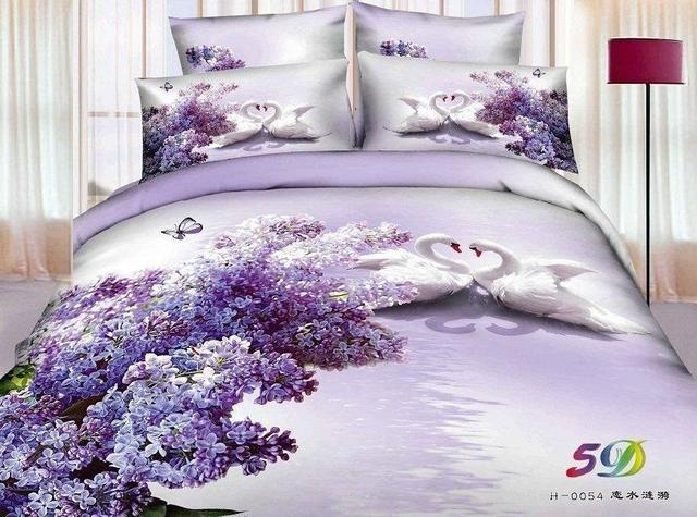 3d Purple Swan Aqua Lilac Floral Butterfly Bedding Set For