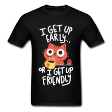 Get Up Cat And Coffee Cute Graphic Print Tshirts 3D Spirits Neko Funny Design Novelty T Shirt Boy Custom Gift Drop Shipping