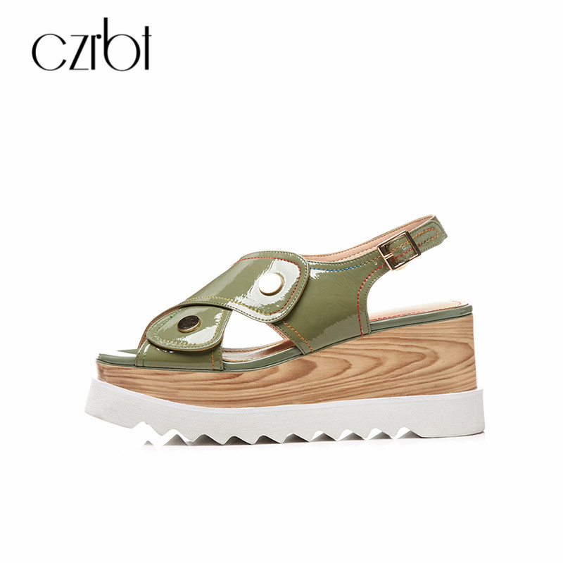 CZRBT Women Summer Thick Bottom Leisure Shoes Women Platform Wedges Fish Mouth Patent Leather Sandals Buckle Strap Gils Shoes