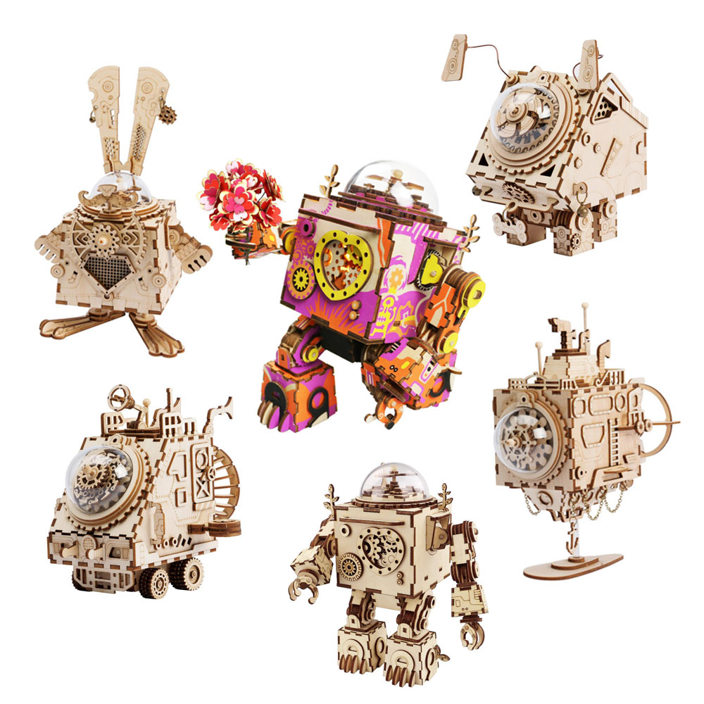 Robotime DIY Steampunk Music Box 3D Wooden Puzzle Assembly Model Building Kit Toys For Children Birthday Gift Drop Shipping