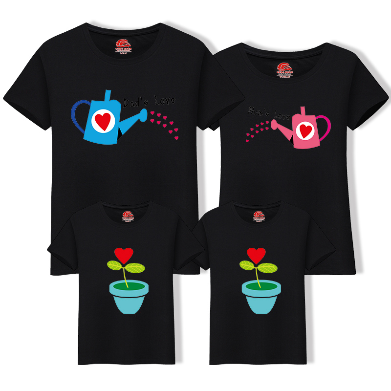 HTB1XWAPn21TBuNjy0Fjq6yjyXXac - Matching Family Clothing 1 piece Family Cultivate Love Summer Short-sleeve T-shirt Outfits For Mother Daughter And Father Son