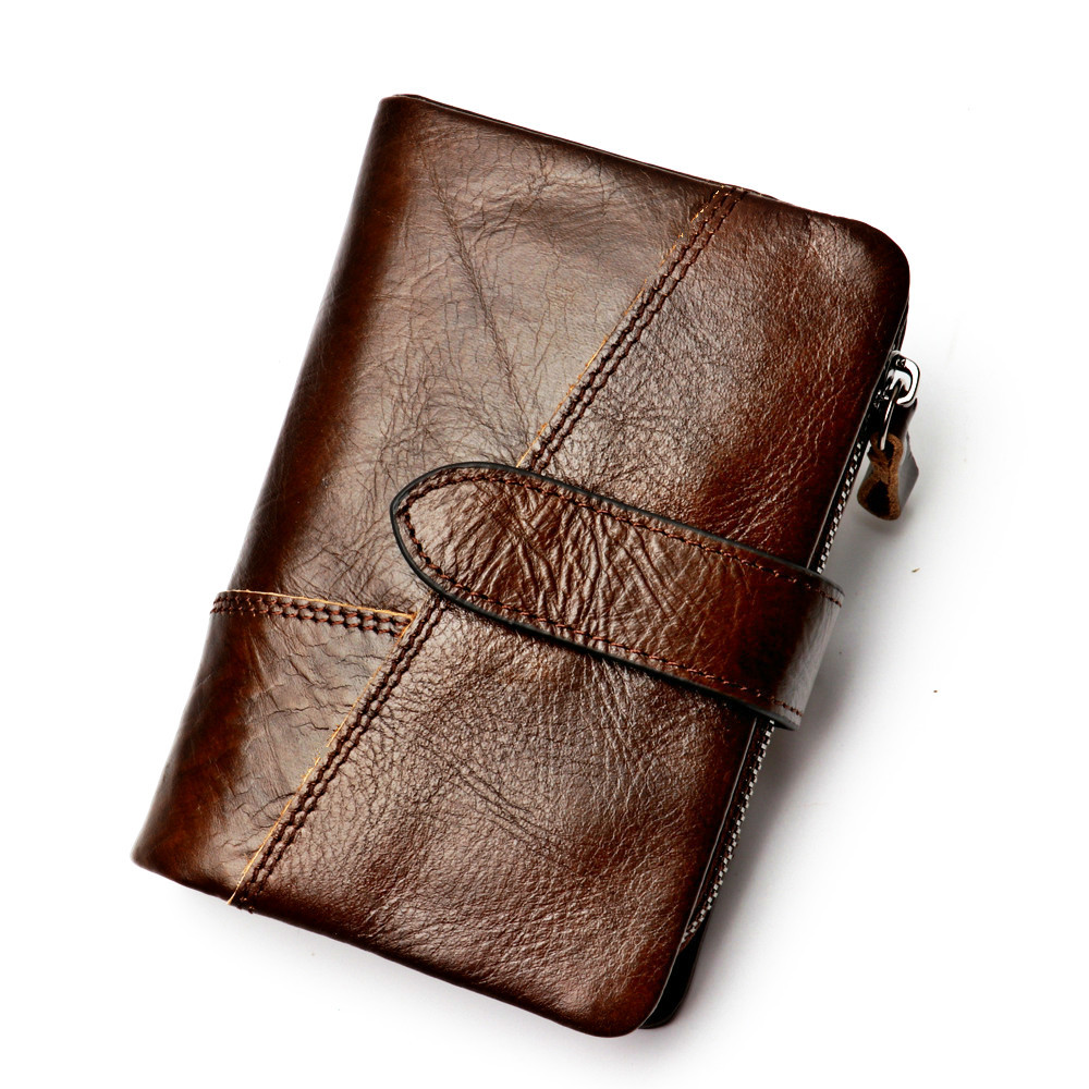 2018 Retro Style Man Wallet Genuine Leather Short Fund Hand Take Package Fashion Small Change Package Cowhide Both Zipper Purse