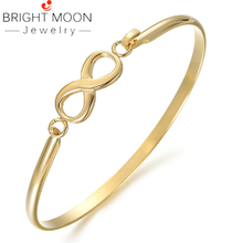 Bright Moon Stainless Steel Women Bracelets Charming Bangles Gold Plating Love Cuff Bangles Luxury Simple Jewellery Wedding Gift bright moon hot sale stainless steel women bracelets charming bangles suitable bracelets for women men jewelry gift