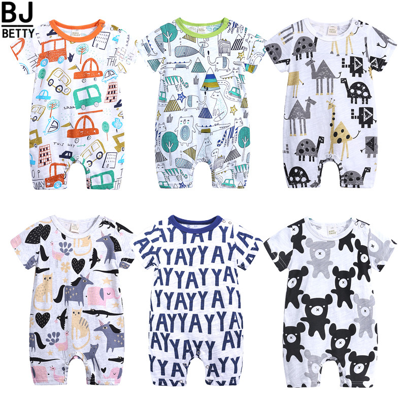 New Arrival Baby Boys Girls   Rompers   Pure Cotton Soft Newborn Short Sleeve Summer Jumpsuit Lovely Cartoon Outfit Clothes BBR195