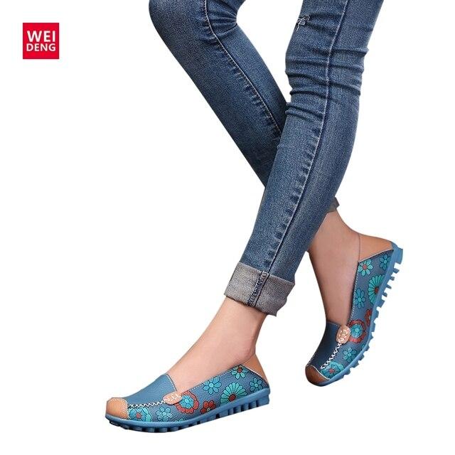 4 Màu Phụ Nữ Thường Genuine leather Thuyền Thoải Mái Mềm Mại Gommino Phẳng Thông Gió In Ấn Thời Trang Phẳng Trượt on Giày 35-40