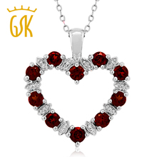 GemStoneKing Diamond Accent Natural Red Garnet Necklaces women 925 Sterling Silver Heart fine jewelry Pendant Necklace For Women